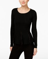Inc International Concepts Lace Inset Peplum Sweater Only At Macy's Deep Black