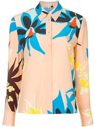 Delpozo Floral Print Shirt Pink And Purple