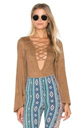 Show Me Your Mumu Louisiana Lace Up Bodysuit Brown