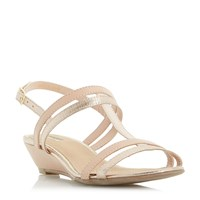 Linea Kora Strappy T Bar Wedge Sandals Gold