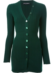 Dolce And Gabbana Fitted Ribbed Cardigan Green