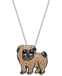 Kaleidoscope Swarovski Crystal Pug Pendant Necklace In Sterling Silver 1 1 8 Ct. T.W.
