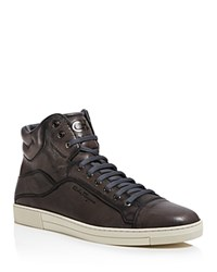 Salvatore Ferragamo Stephen 4 High Top Sneakers Dark Gray