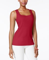 Karen Scott Cotton Tank Top Created For Macy's New Red Amore
