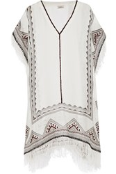 Talitha Embroidered Silk Muslin Kaftan White