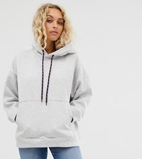 Weekday Hoodie In Grey With Purple Drawstring
