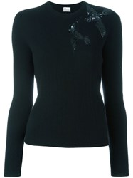 Red Valentino Sequined Bird Jumper Black