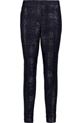 Iris And Ink Bernadette Metallic Tweed Slim Leg Pants Midnight Blue