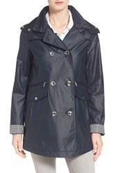 Women's Laundry By Shelli Segal Gingham Trim Double Breasted Hooded Coat Navy