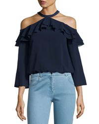 Alice Olivia Layla Cold Shoulder Ruffle Blouse Navy