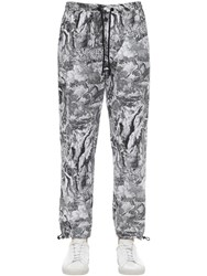 Diesel Allover Print Cotton Poplin Pants Grey