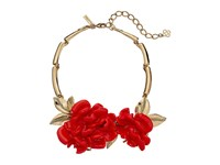 Oscar De La Renta Resin Flower Necklace Persimmon
