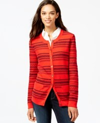 Tommy Hilfiger Textured Stripe Cardigan Racing Red