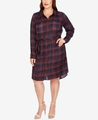 Lucky Brand Trendy Plus Size Plaid Shirtdress Blue Multi