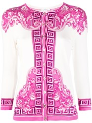 Versace Collection Arabesque Print Cardigan Women Silk Spandex Elastane 40 Pink Purple
