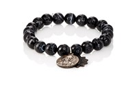 Miracle Icons Men's Charms On Beaded Bracelet Black