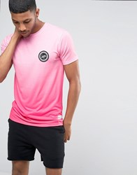 Hype Gradient T Shirt With Crest Logo Pink