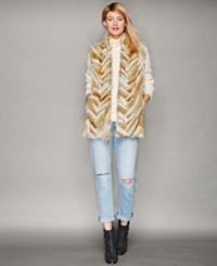 The Fur Vault Coyote Fur Chevron Striped Vest Multi