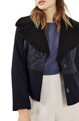 Topshop Women's Borg Collar Short Hybrid Coat