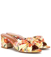 Etro Printed Satin And Leather Sandals Multicoloured