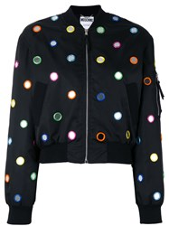 Moschino Mirror Embroidered Bomber Jacket Black