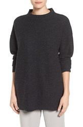 Eileen Fisher Women's Lightweight Boiled Wool Mock Neck Pullover Charcoal