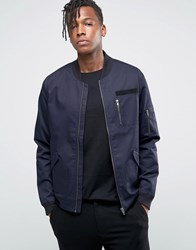 Only And Sons Bomber Jacket With Military Detail Navy