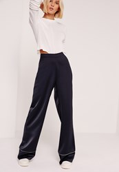 Missguided Premium Satin Piped Detail Trousers Navy Blue