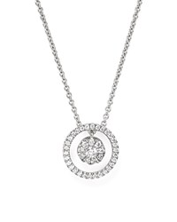 Roberto Coin 18K White Gold Round Pendant Necklace With Diamonds 16