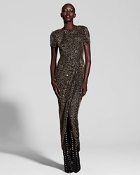 J. Mendel Metallic Beaded Short Sleeve Gown Multi