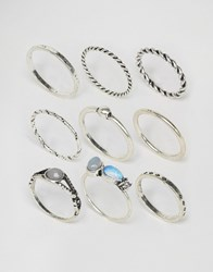 Asos Limited Edition Pack Of 9 Moon Stone Twist Rings Blue Burn Silver Gold