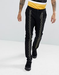 Asos Slim Trousers With Lace Up Detail In Black Black