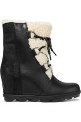 Sorel Joan Of Arctic Wedge Ii Shearling Trimmed Waterproof Leather And Suede Ankle Boots Black