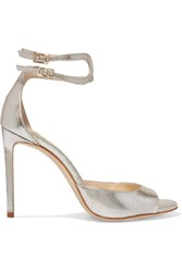 Jimmy Choo Lane 100 Metallic Cracked Leather Sandals Silver