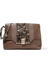 Valentino Python Trimmed Calf Hair And Leather Shoulder Bag Brown