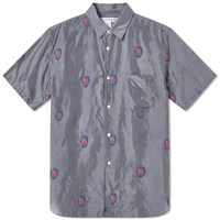Comme Des Garcons Shirt Embroidered Silk Shirt Grey