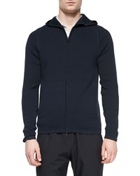 Theory Melker Zip Up Hooded Sweater Navy
