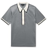 Dunhill Contrast Trimmed Cotton Jersey Polo Shirt Gray