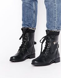 Truffle Collection Cuff Lace Up Ankle Boots Blackpu
