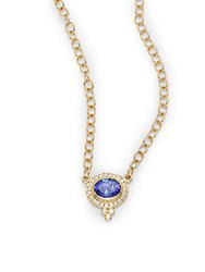 Temple St. Clair Diamond Tanzanite And 18K Yellow Gold Necklace
