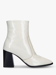 Carvela Softly Patent Square Toe Ankle Boots White