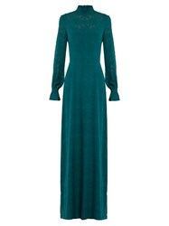 Saloni Mary Long Sleeved Fil Coupe Silk Gown Dark Green