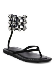 Alexander Wang Aubrey Jeweled Cage Suede Thong Sandals Black