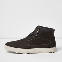 River Island Grey Lace Up High Top Trainers