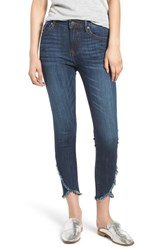 Vigoss Asymmetrical Fray Hem Skinny Jeans Dark Wash