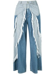 Tsumori Chisato Bow Embellished Cropped Trousers Blue