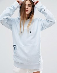 Criminal Damage Oversized Hoodie With Distressing Co Ord Light Blue