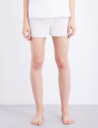 Bodas Cotton And Silk Blend Pyjama Shorts White Silk Cotton