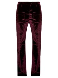 Vetements Flared Velvet Trousers Burgundy