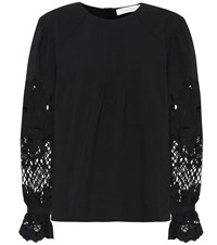 See By Chloe Lace Trimmed Cotton Blouse Black